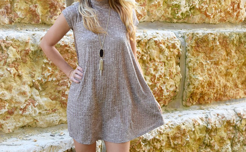 Rib Knit Dress with Pockets