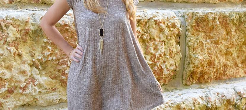 Rib Knit Dress withPockets